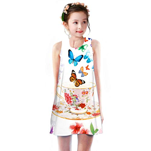 miqiqism Girls Summer Floral Printed Tank Dresses Kids Sleeveless Tunic Casual A-Line Party Beach Sundress Clothes (Blue, 8-9 Years) ()