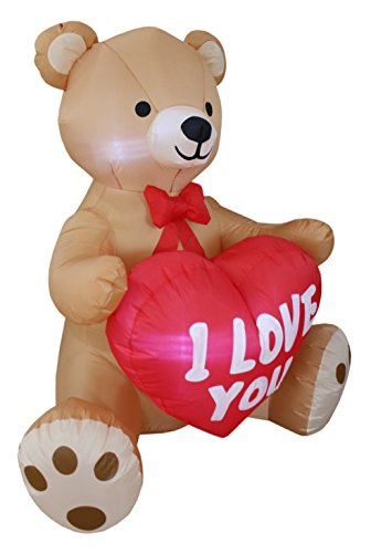 12ed99da9b24c 4 Foot Tall Valentine's Day Inflatable Teddy Bear with Love Heart Yard Blow  Up Decoration, Romantic Sweet Valentines Gift for Couples, Cute Gift Idea  ...