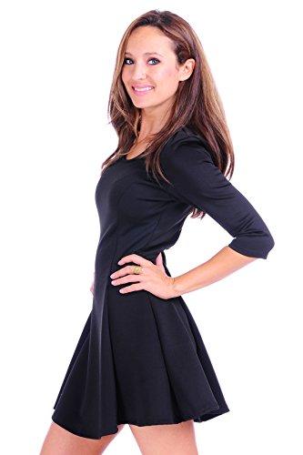 Stretched 3 4 J Black Techno Dress Style Sleeve Skirt Doe Women's Flared g4nqwAaZ
