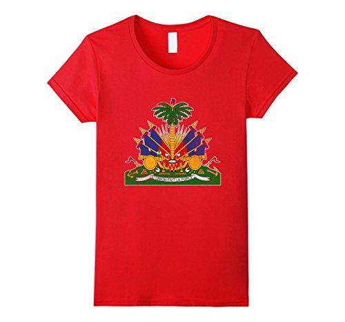 Women's Haitian Coat Of Arms Pride Flag T shirt Tee I Love Haiti Small (Haiti Coat)