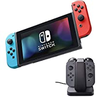 Nintendo Switch Neon Blue and Red Joy Con with 4-Slot Charging Dock Bundle