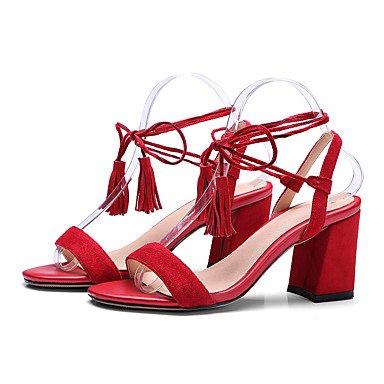 LvYuan Tacón Robusto-Zapatos del club-Sandalias-Oficina y Trabajo Vestido Informal-Cachemira-Negro Rojo Red