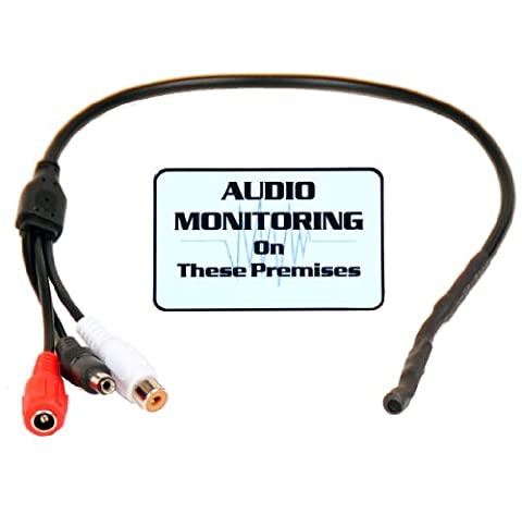 VideoSecu High Sensitive Preamp Mini Audio Pickup Microphone Mic with Power Bypass Audio Sound Voice Collecting and bonus Warning Decal (Videosecu Av Video)