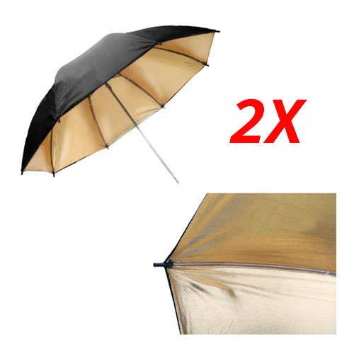 CowboyStudio 2X 33 inch Double Layer Black and Gold Photo Studio Reflector Umbrella by CowboyStudio