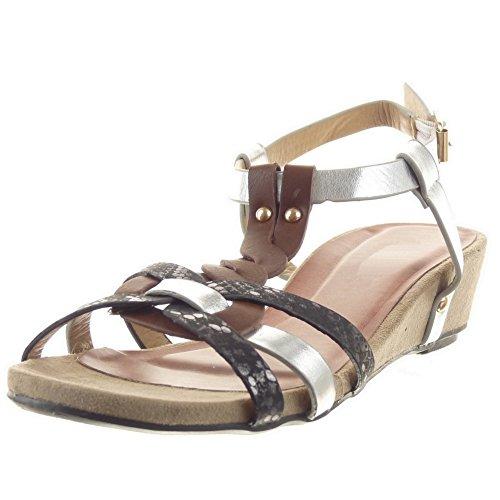 Sopily - damen Mode Schuhe Sandalen T-Spange Plateauschuhe Römersandalen glänzende Schlangenhaut Multi-Zaum - Schwarz