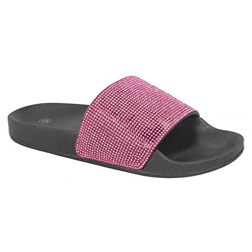Cursori Tessuto Mule Ladies Nero Diamante Fuchsia Womens Spot Mid On 66An8U