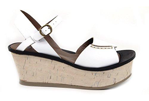 Lili Mill sandali donna, tomaia pelle, suola gomma, zeppa alta 7 cm. platform 4 e battuta 3 cm.
