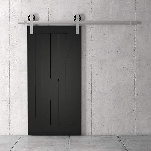"Farmhouse Woodcraft 83"" Black Zurich ""Z"" Panel Sliding Wood Barn Door"