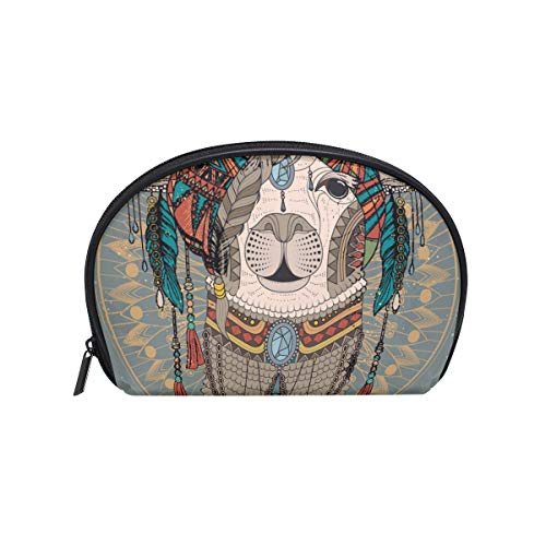 Senya Travel Cosmetic Bag Small Makeup Portable Carry Case Pouch Girls Women Personalized Organizer Tote Bag For Jewelry Toiletries Alpaca Adult Coloring Page ()