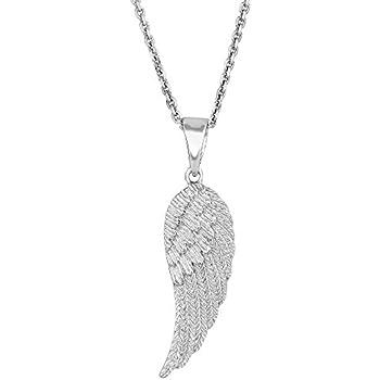 29116da86 Amazon.com: Sterling Silver Diamond Angel Wing Pendant Necklace (1 ...