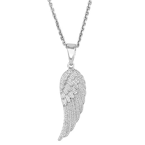 Sterling Silver Angel Wing Pendant Necklace, ()
