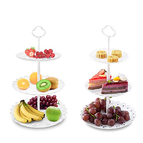 Two Pack of Three Tier Cake Stand and Fruit Plate by Imillet - Plastic Stand of White for Cakes Desserts Fruits Dried Fruit Candy Buffet Stand for Wedding & Home & Holiday/Birthday Party (big)