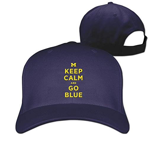 - Fa8Cai Cloth Unisex Adjustable Flat-Brim Dad Hat Baseball Caps - MI Keep Calm and Go Blue Skull Cap