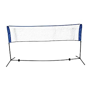 14ft ~ 10ft Portable Badminton Volleyball or Tennis Adjustable Net Rack Stand Family Sport Outdoor Black & Blue
