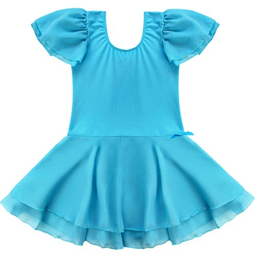 YiZYiF Girls Kids Ballet Dancewear Skating Dress Leotard Skirt Outfit Clothes (2-3, Blue )
