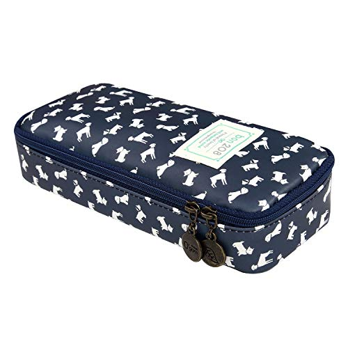 D.Sword Cute Pencil Case for Kid,Big Capacity Pen Bag Student Office Stationery Organizer for College Middle School Grade School,Dog Pencil Pouch Cosmetic Bag Makeup Bag(deep Blue Lucky Dog)