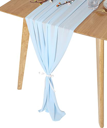 QueenDream Sky Blue Gorgeous Sheer Chiffon Table Runner 27 x 120 Inches Gauze Table Runner for Wedding Reception Cake Table Decorations Party decor -