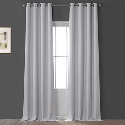 HPD Half Price Drapes BOCH-LN1855-120-GR Faux Linen Grommet Blackout Room Darkening Curtain 1 Panel