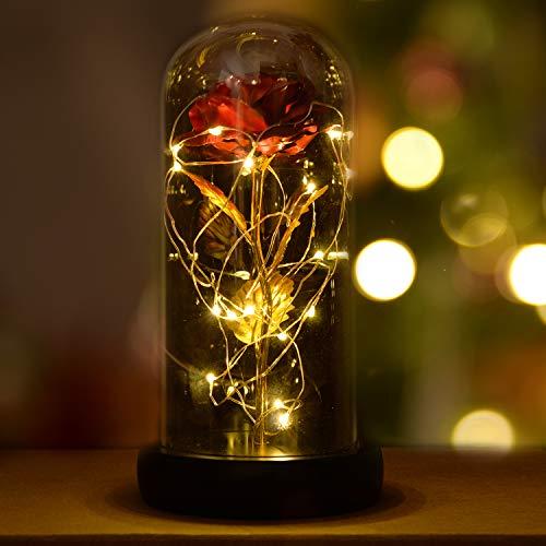 INAROCK La Bella y la Bestia Rose, Valentine Red Silk Rose en Dome Glass con 20 LED Fairy Lights String, Romantica Sorpresa para el Dia de San Valentin, Dia de la Madre, Aniversario de Bodas, Navidad
