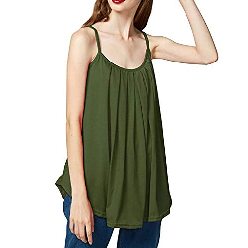 - TUSANG Womens Blouse Loose Sleeveless Plus Size Solid Color Basic Camisole Tank Top Vest Off Shouder Shirt(Green,US-10/CN-XL)