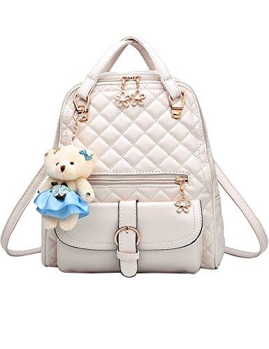 Menschwear Moda Mujer Chica funda mochila escolar bolsa Diamante Azul Blanco
