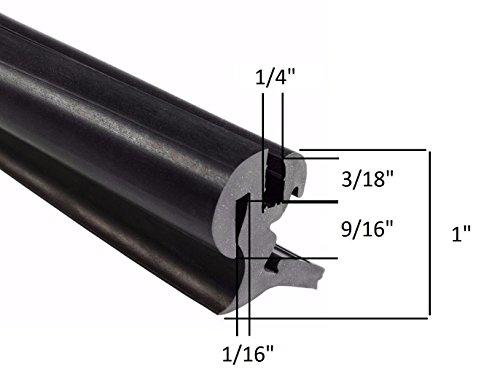EPDM Dense Rubber Window Locking Gasket/Weather Stripping Window Seal, One-Piece Locking Action (Offset), Fits 1/4 Inch Glass and 1/16 Inch Panel Edge, (20 Feet or 6 Meter ) Van Door Weatherstripping