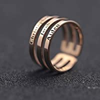 Peronalized Custom Rings Triple Three Names Sterling Silver or White Gold or Gold Plated Ring Engraved Personalized Jewelry Anniversary Christmas Birthday Mothers Mom Day Gifts