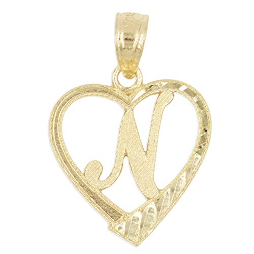 Ice on Fire Jewelry 10k Solid Gold Initial Pendant in Heart Frame with Diamond Cut Finish, Available in Different Letters of Alphabet Personalized Charm for Women (N)
