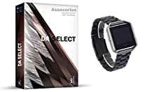 D.A. Select Adjustbable Wrist Replacement Band for Fitbit Blaze Charge Smart Watch Fitness Strap Accessory - (Metal Black)