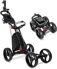 JANUS Golf Push Cart, Golf cart for Golf Clubs, Golf Pull cart for Golf Bag, Golf Push carts 4 Wheel Folding,