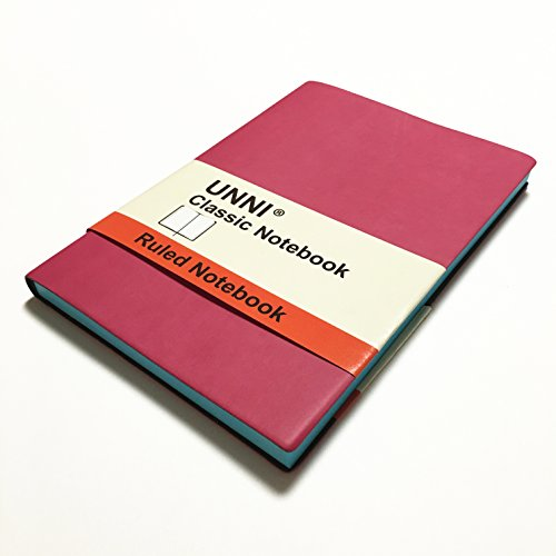 """Unni Classic Notebook Journal, Size:5.8"""" X 8.3"""", A5, Ruled, Magenta, 192 Pages, Soft Cover/Fine PU Leather, Writing Notebook, Diary Journal, Banded journal, Bookmark, Hardbound"""