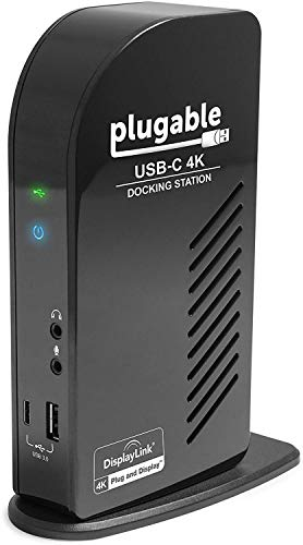 Plugable USB-C 4K Triple Display Docking Station with Charging Support for Specific Windows USB C and Thunderbolt 3 Systems (1x HDMI and 2X DisplayPort++ Outputs