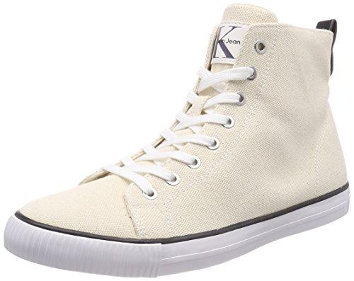 Klein Heavy 000 Arthur Alto Uomo Ntw Bianco a Collo Sneaker Canvas Calvin wRSxd1qFw