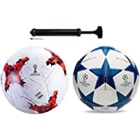 Nikson Rockers Rushia Red + Star Blue Football Combo with Durable Air Pump Football Kit
