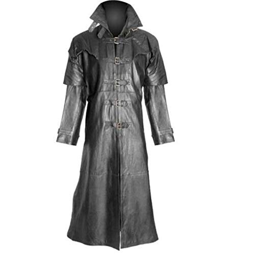 Mens Gothic Tailcoat Jacket Black Steampunk Victorian Long Coat Halloween Costume