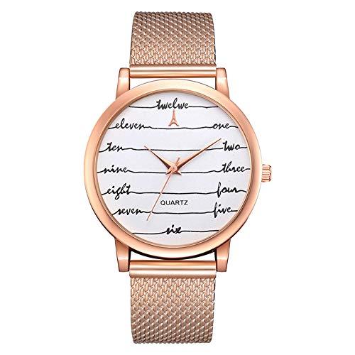 - NATRUSS Fashion Wave Pattern Mesh Belt Round Dial Quartz Watch Casual Women Wristwatch A-1