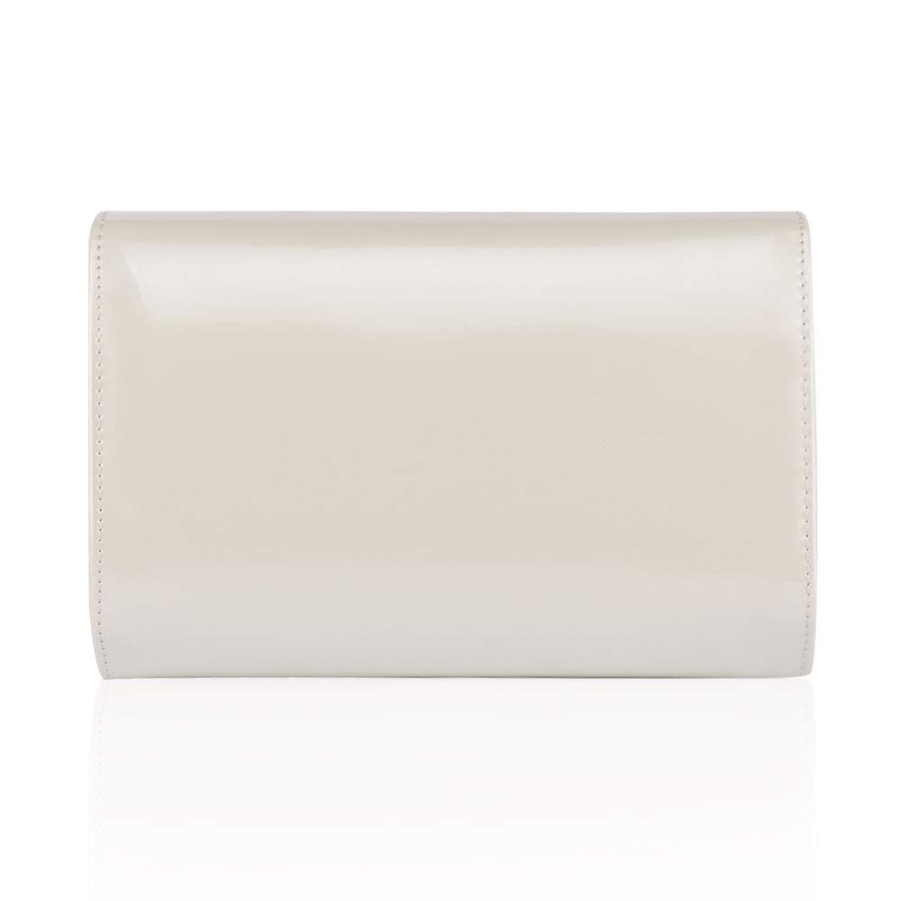 Women Leather Fashion Clutch Purses,WALLYN'S Evening Bag Handbag Solid Color (Natural) by WALLYN'S (Image #3)