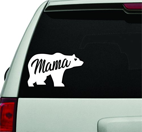 Dabbledown Decals Mama Bear White Version Car Window Windshield Lettering Decal Sticker Decals Stickers Girl JDM ()