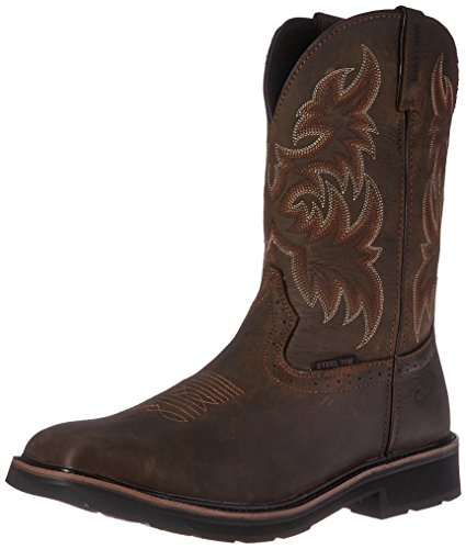 Wolverine Men's Rancher 10'' Square Steel Toe Work Boot, Dark Brown/Rust, 14 M US by Wolverine