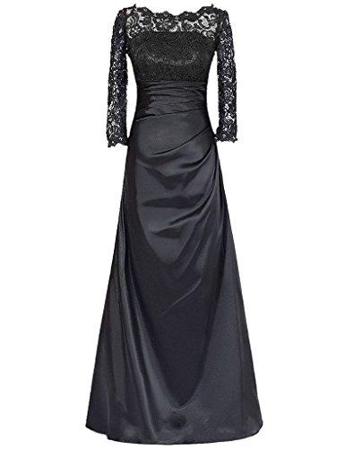 JAEDEN Manga larga Encaje Vestidos de noche Largo Madre de vestido de la novia Negro