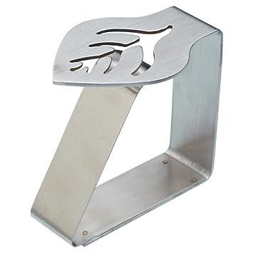 Kitchen Craft - Pinzas de acero inoxicable para sujetar servilletas (4 unidades), diseño de hoja: Amazon.es: Hogar