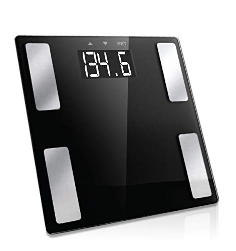 Vivitar PS-V163-B Body Analysis Digital Bathroom Scale With An Easy To Read LCD Display Wireless Weight Smart Body Fat Scale Sleek Tempered Glass Platform, Large Display, 400 Pounds, Black