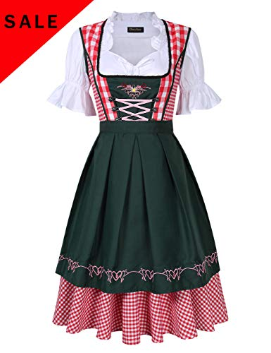 GloryStar Women's German Dirndl Dress Costumes for Bavarian Oktoberfest Carnival Halloween (2XL,