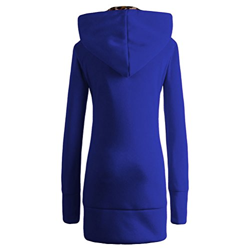 Frauen Plus Size Winter warme und dicke Samt Leopard Hooded Sweater Mantel-Jacken-
