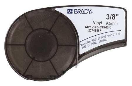 Brady M21-375-595-BK Cartridge, B595 Vinyl Indoor/Outdoor Material, 0.375'' W x 21' L, White on Black