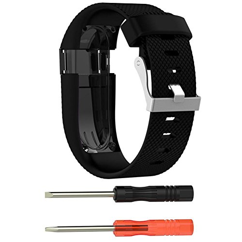 Livoty Large Replacement Silicone Band Strap Wristband Bracelet For Fitbit Charge HR (Black) Ladies Blaze Mesh Jacket