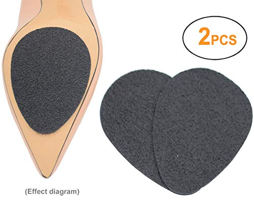 Anti Slip Shoe Grip, Powerful Self-Adhesive High Friction Rubber Grippers Protector Pads for Shoe Bottoms (Elliptic Black, 2 PCS)