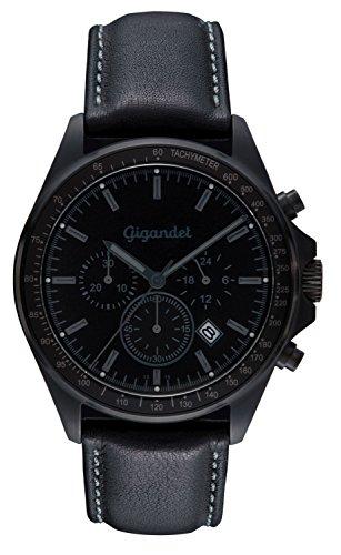 Gigandet Men's Quartz Watch Volante Chronograph Analog Leather Strap Gray Black G3-005