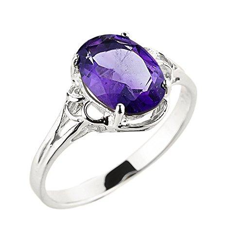 - Modern Contemporary Rings Elegant 14k White Gold February Birthstone Genuine Amethyst Gemstone Ring (Size 7)