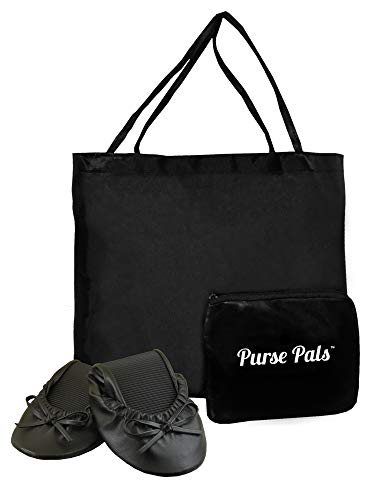 Solemates Purse Pal Foldable Bowed Ballet Flats w/Expandable Tote Bag for Carrying Heels (Medium (7-8.5), Black)